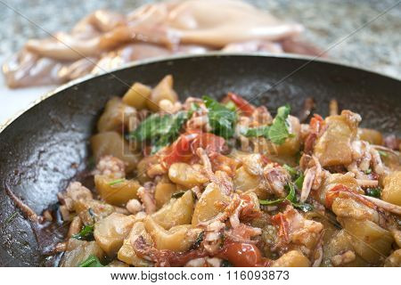 Calamari With Eggplants Or Caponata In Pan