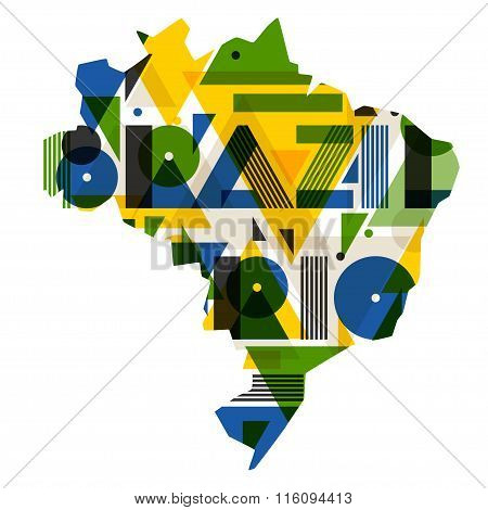 Brazil and Rio with map in abstract geometric style. Design for print on t-shirts, tourist brochure,
