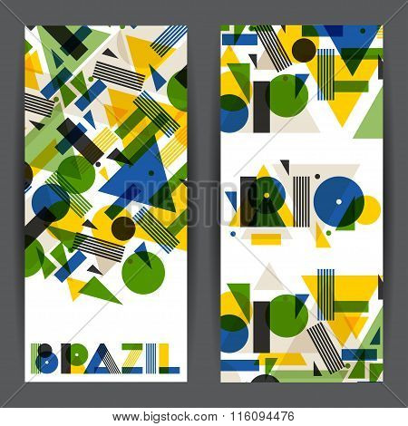 Brazil and Rio banners in abstract geometric style. Design for covers, tourist brochure, advertising