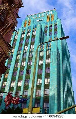 January 27, 2016 in Los Angeles, CA:  Historic art deco Eastern Building built in 1930 which has lofts and condos where people can visit and admire its stunning architecture taken in Downtown Los Angeles, CA