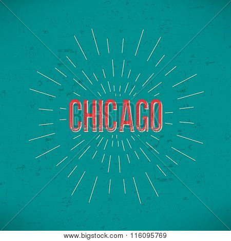 Abstract Creative concept vector design layout with text - Chicago. For web and mobile icon isolated