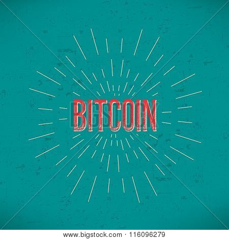 Abstract Creative concept vector design layout with text - bitcoin. For web and mobile icon isolated