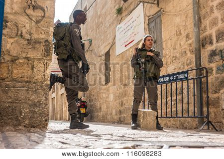 Israeli Soldiers - Man And Woman - Guarding Jerusalem