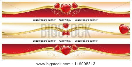Set of 3 elegant Leaderboard banners with hearts.