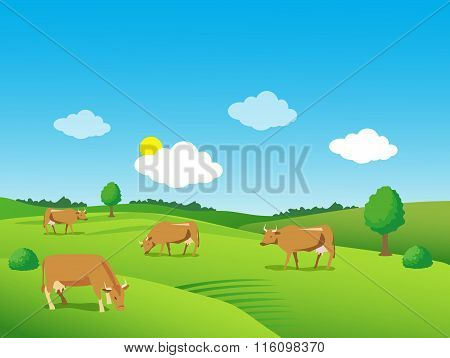 Landscape With Green Meadow And Cows. Beautiful Valley. Background For Label, Sticker, Print.