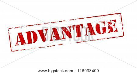Rubber stamp with word advantage inside vector illustration