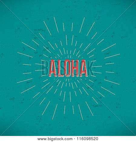 Abstract Creative concept vector design layout with text - aloha. For web and mobile icon isolated o