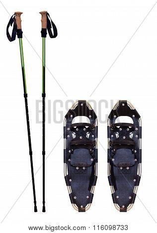 Snowshoes And Trekking Poles
