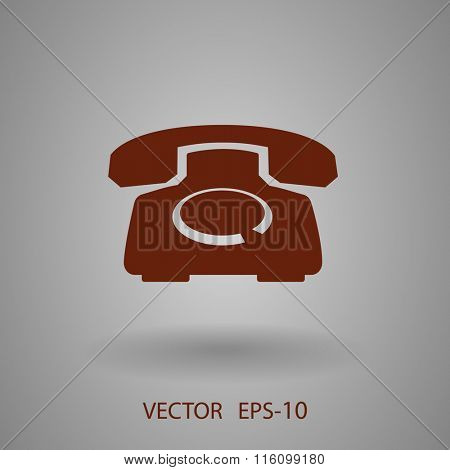 Flat icon of a phone