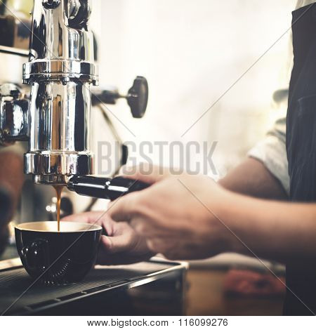 Barista Machine Coffee Counter Espresso Pour Concept