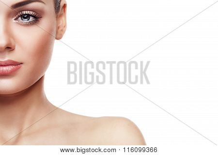Woman With Nude Make Up Isolated On White Background