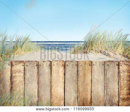 Fence Landscape Coastline Scene Summer Tranquil Concept