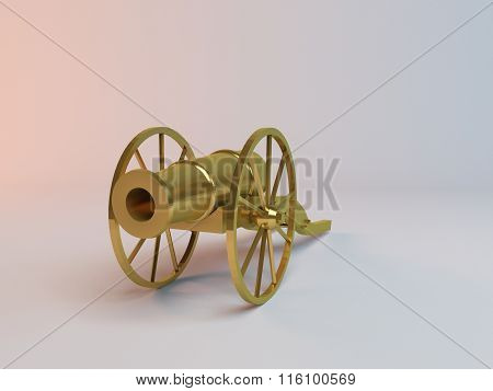 golden metal canon antique