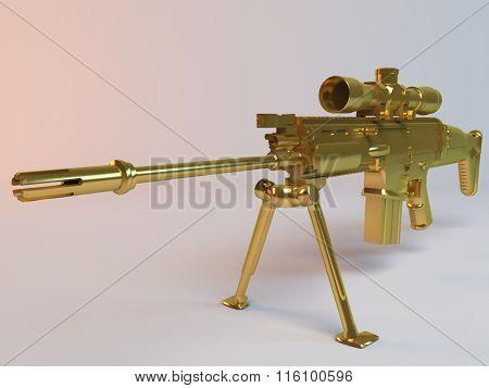 Imaginary 3d Golden rifle with binocular