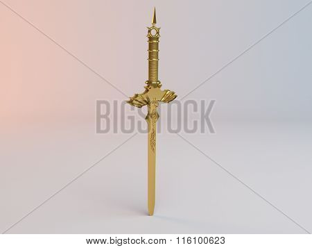 Fantasy detailed 3d Golden sword