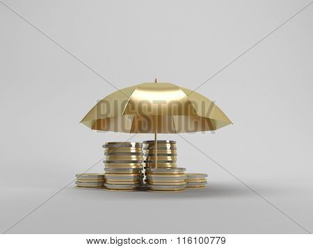 3d illustration: Protecting funds Umbrella covers gold coins
