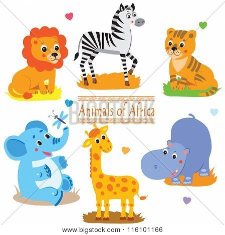 Cartoon Safari Animals Pack. Cute Vector Set: Tiger, Giraffe, Hippo, Lion, Elephant And Zebra.