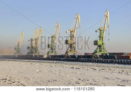 Harbor Cranes In Cargo Container Port, Sea Canal, Saint-petersburg, Russia.
