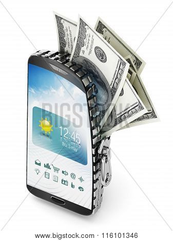 100 Dollar Bills Coming Out Of The Smartphone Which Is Opened By A Zipper