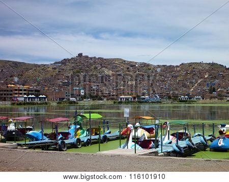 Lago Titicaca With Boats In Puno
