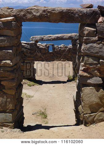 A Ruin At Isla Del Sol At Lago Titicaca