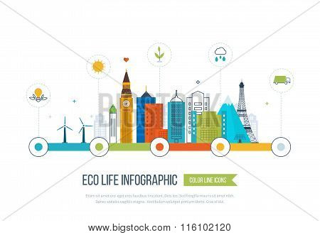 Green eco city infographic. Ecology concept,