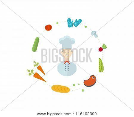 Cooking, fruits and vegetables, vegetarian food.