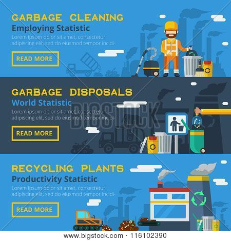 Garbage Recycling Horizontal Banners Set