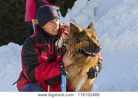 Red Cross Savior With His Dog