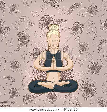 Yoga-woman meditates