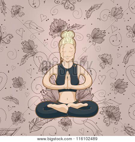 Yoga-woman meditates