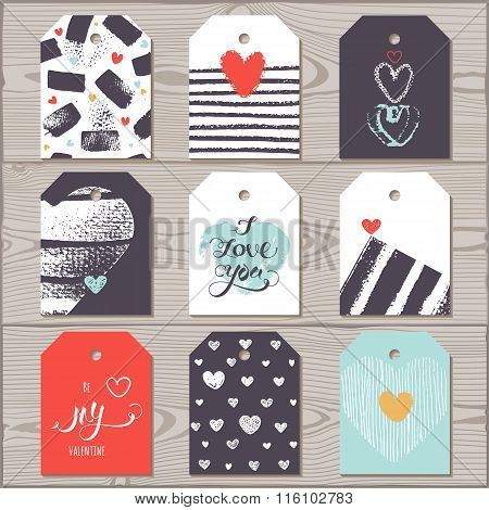 Tags For Valentine's Day.  Vector texture. Vector design template for greetings.