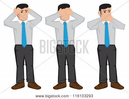 See No Evil Hear No Evil Speak No Evil Vector Illustration