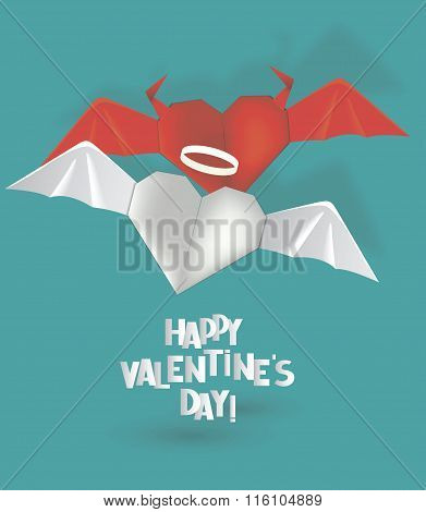Origami hearts angel and devil. Valentine's Day vector illustration