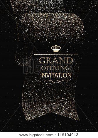 Grand opening invitation card with abstract ribbon