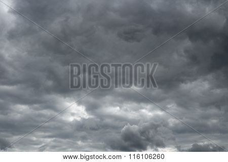 Thunderclouds over horizon cloudscape storm.