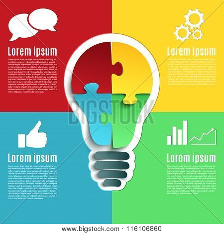 Bright idea, creative conceptual infographics.