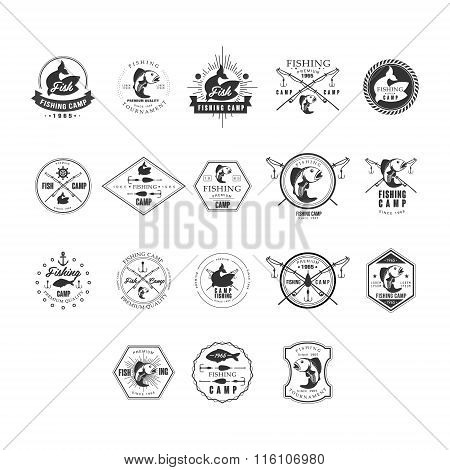 Fishing Retro Design Insignias Logotypes Set. Vector Elements Illustrations.