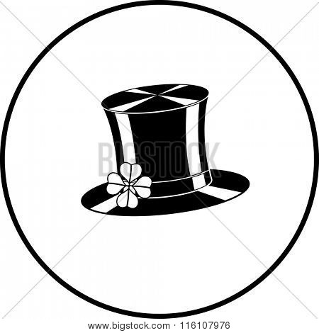 Saint Patrick's day celebration top hat with a clover with four leaves symbol