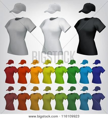 Plain women's cap and t-shirt template.