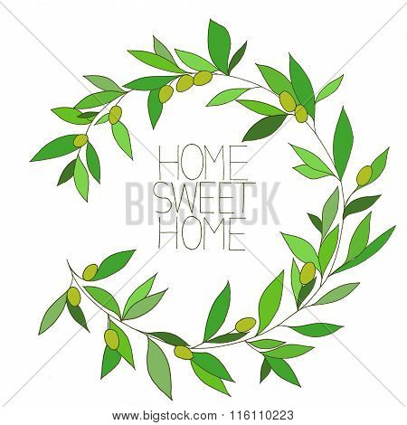Home Sweet Home, Hand Drawn Inspirational Floral Color Graphic