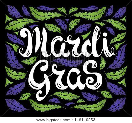 Mardi Gras celebration poster with calligraphy text