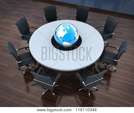 Circular Table And Abstract Earth