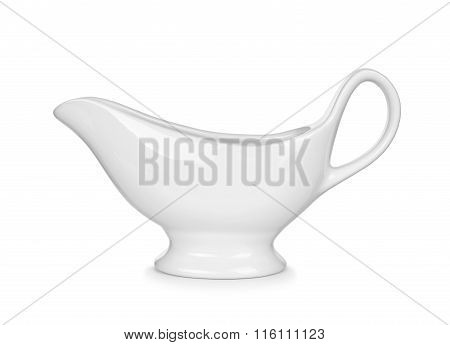 White Gravy Boat Isolated On White Background