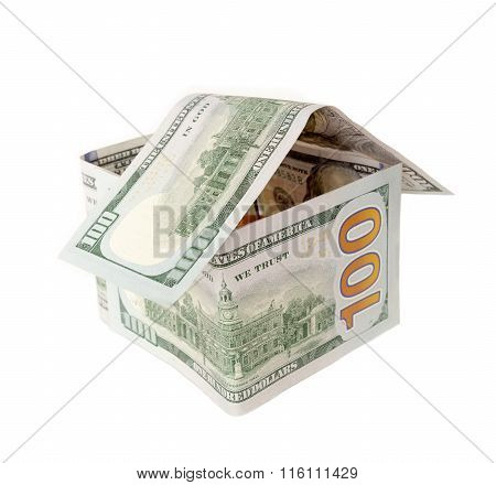 House of hundred dollar isolated on white.