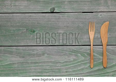 Wooden fork and knife