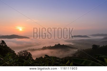 Sunrise With Sea Of Fog Above Mekong River