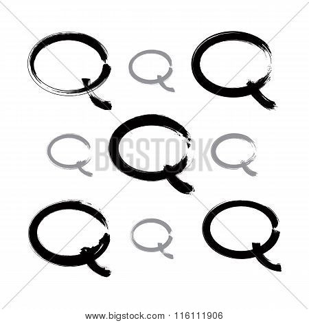 Set Of Hand-drawn Speech Bubble Icons, Collection Of Monochrome Brush Drawing Talk Bubble Signs