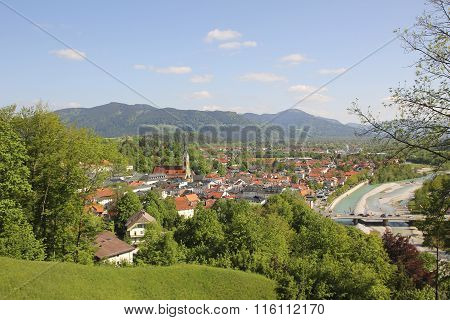 View To Health Resort Bad Tolz And Alps At Springtime