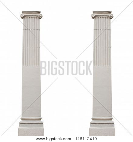 Two Isolated Architectural Columns On A White Background